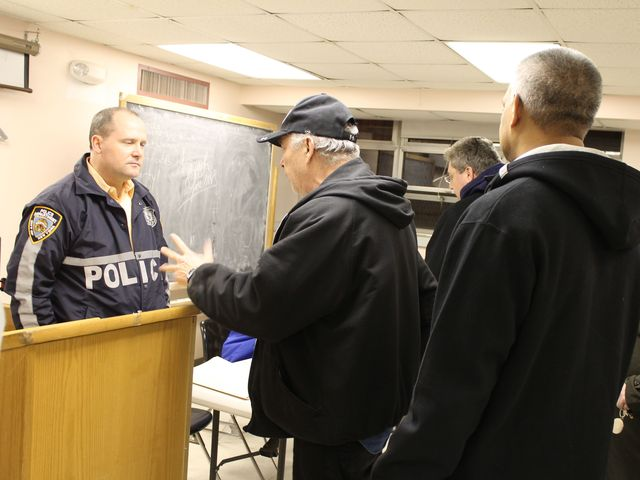 <p>Captain Henry Sautner, Commanding Officer of the 102nd Precinct, at a recent community council meeting.</p>