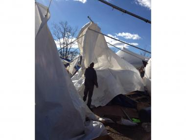 The main tent of the Cedar Grove Community Hub collapsed amid strong winds, Jan. 31, 2013.