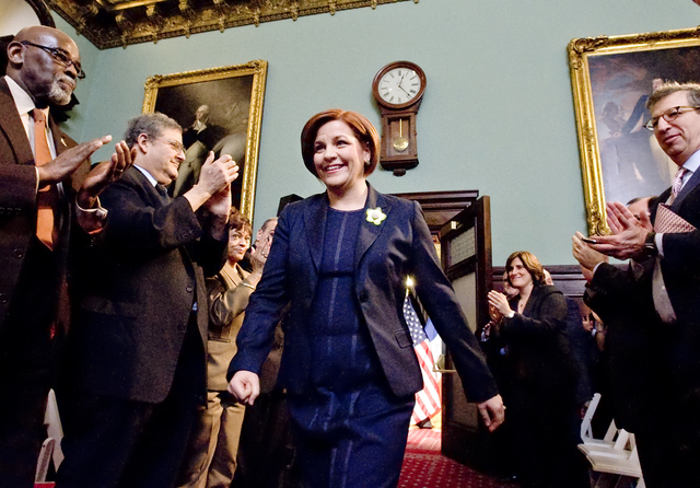 <p>Christine Quinn delivered her final State of the City speech on Feb. 11, 2013.</p>