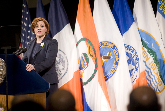 <p>City Council Speaker Christine Quinn pledged to build 40,000 new affordable housing units for middle-class families during her speech.</p>