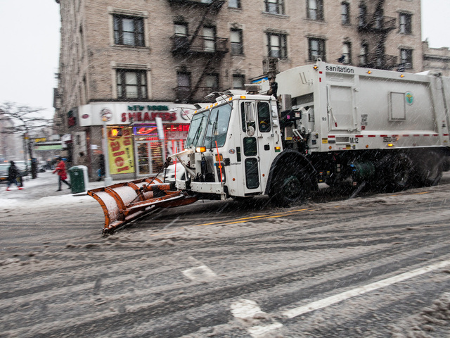 <p>A NYC plow clears snow on Broadway in Washington Heights in Upper Manhattan, New York City on Feb. 8, 2013.</p>