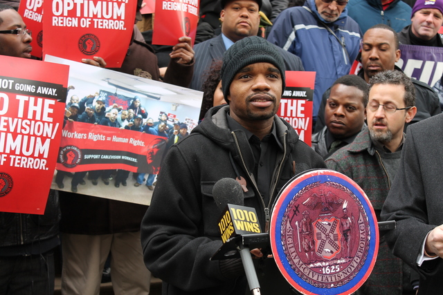 <p>Clarence Adams, one of 22 Cablevision workers who claim they were illegally &#39;permanently replaced&#39; by the corporation in January 2013, called on the City Council to hold Cablevision accountable for its alleged labor violations Tuesday, Feb. 26, 2013.</p>