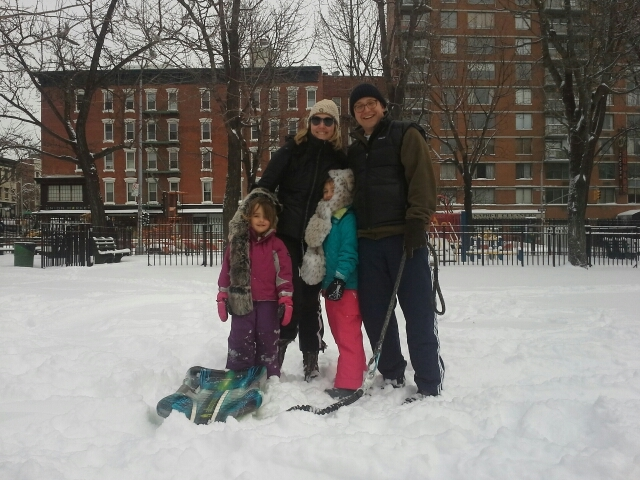 <p>Marc Trevino and his wife, Camille Orme, played in ABC with their daughters Clara and Rowan on Saturday, Feb. 9 2013 after Snowstorm Nemo hit the city.</p>
