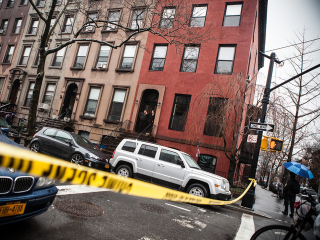 <p>Outside 388 Clinton St., where Elizabeth Borst, 55, was found with a fatal head wound, on Feb. 23, 2013.</p>