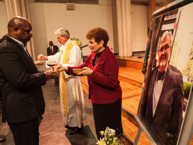 <p>Officiants serve communion at services for Richard Murphy, 68, at the Union Theological Seminary Chapel, on Feb. 16, 2013. Murphy passed away on Feb. 14, 2013, in Manhattan.</p>