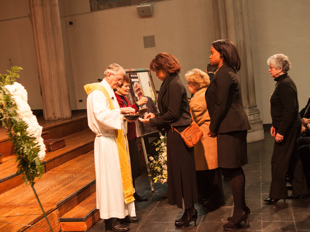 <p>Officiants bless the communion at services for Richard Murphy, 68, at the Union Theological Seminary Chapel, on Feb. 16, 2013. Murphy passed away on Feb. 14, 2013, in Manhattan.</p>
