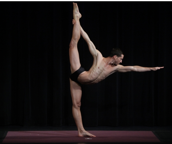 <p>Jared McCann did the standing bow posture at a USA Yoga competition.</p>