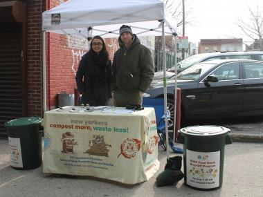 Build It Green is collecting food scraps for composting every Tuesday near the Broadway N/Q train stop.