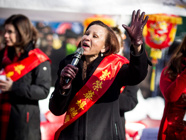 <p>Congresswoman Nydia M. Vel&aacute;zquez speaks at the Chinese New Year celebrations in Sara D. Roosevelt Park, New York City on Feb. 10, 2013.</p>