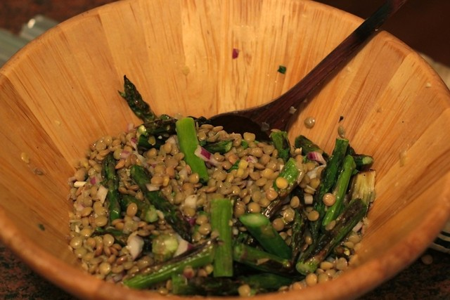 <p>The lentil salad gets a lift from red wine vinegar and the hint of licorice from tarragon.</p>