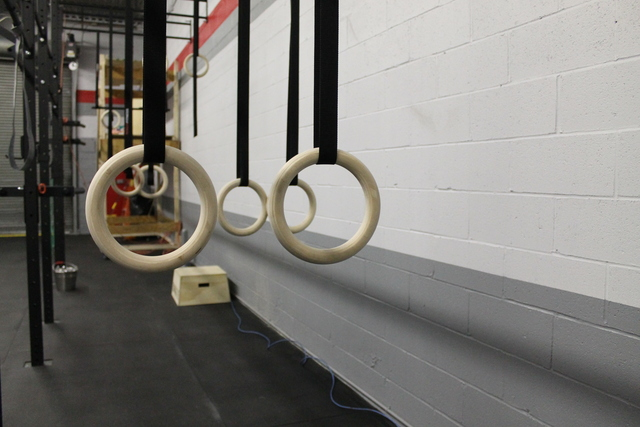 <p>Gymnastics rings at CrossFit Gantry, a new gym that opened in February 2013 at 10-20 47th Road in Long Island City. CrossFit programs stress high intensity workout movements and constant variety.</p>