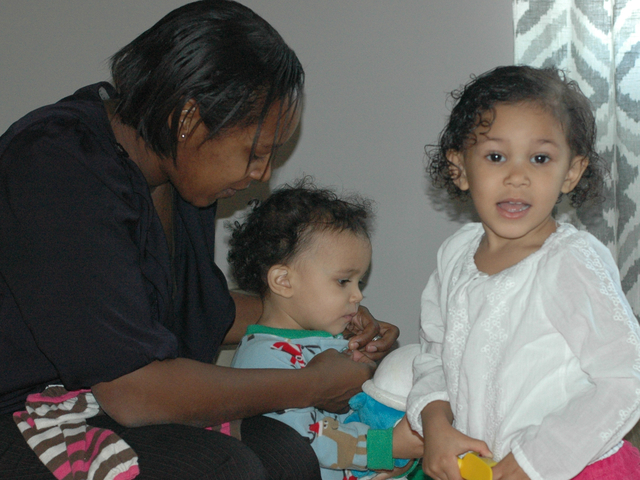 <p>Danielle Dubeau with children Hanae and Sayuri. Danielle speaks French to her daughters, and their father, Nathan, speaks Japanese to them.</p>