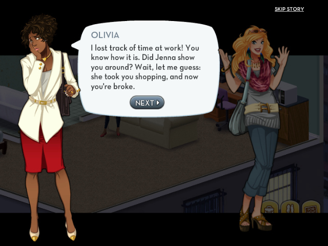 <p>Olivia, in the white jacket, is characterized as a more reasonable friend than Jenna &mdash; who&#39;s positioned as the player&#39;s shopping-obsessed best friend.</p>
