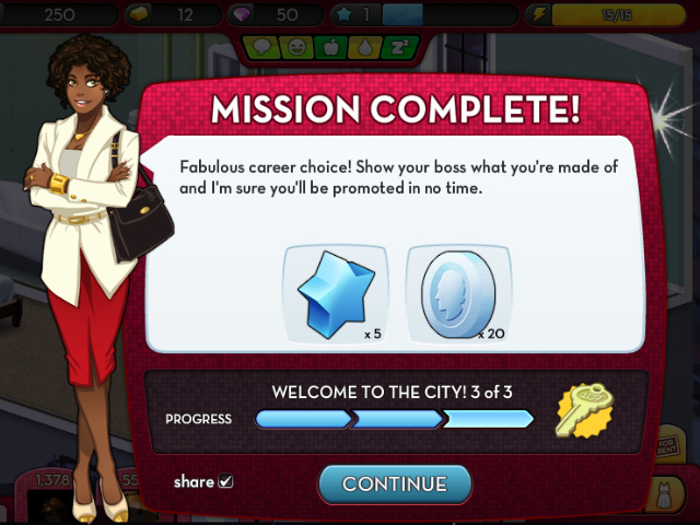 <p>By completing tasks such as buying a sofa or getting a career, aspiring city girls succeed in the video game.</p>