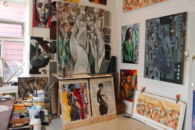 <p>Anievas&#39; paintings in the studio.</p>