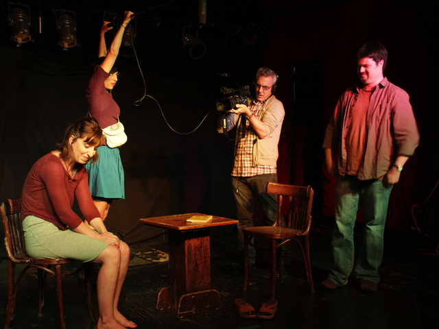 <p>Juniper Foster, Emily Niewendorp, Steven Levine, and Ryan O&rsquo;Toole performing the play &quot;Famous,&quot; written by O&rsquo;Toole and Foster.</p>