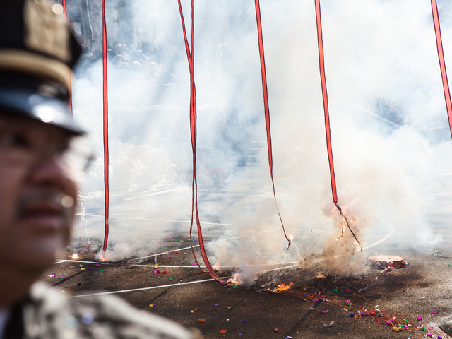 <p>Firecrackers are set off at the Chinese New Year celebrations in the Sara D. Roosevelt Park, New York City on Feb. 10, 2013.</p>