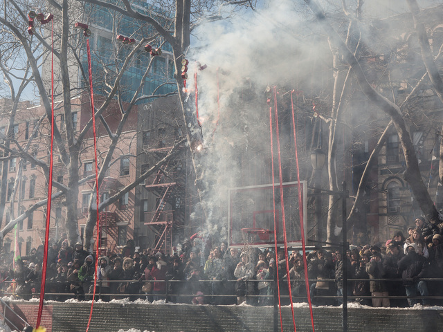 <p>Fireworks symbolizing the Chinese Year of the Snake are set off at the New Year celebrations in the Sara D. Roosevelt Park on Feb. 10, 2013.</p>