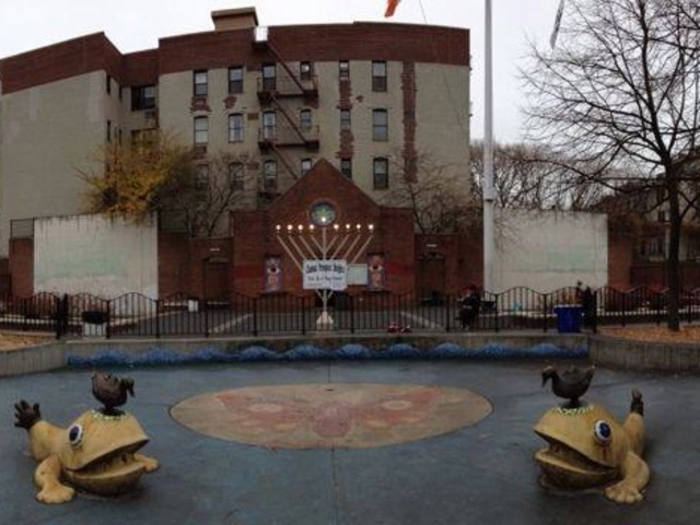 <p>A menorah at Underhill Playground</p>