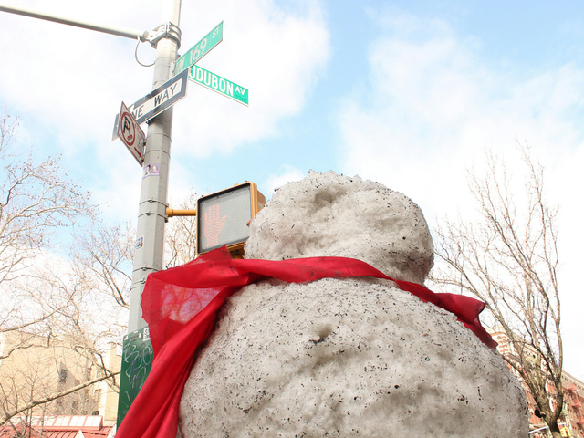 <p>The snowman sits on the corner of 169th Street and Audubon Avenue.</p>