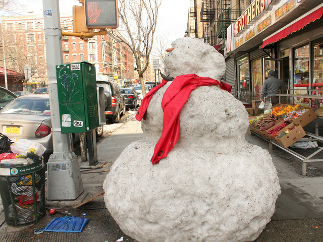 <p>The snowman first went up Saturday after Winter Storm Nemo&nbsp;blew through New York.</p>