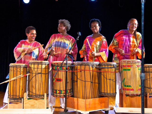 <p>The group Grace Drums performing. The group is one of the tenants in the Gowanus Arts Building, next door to the Fairfield Inn hotel on Third Avenue. Some guests at the hotel have reportedly complained about the sound of late-night drumming keeping them awake.</p>