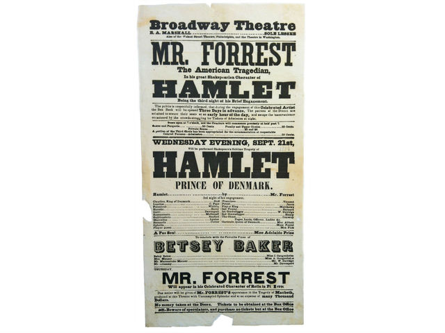 <p>A flier for an 1853 performance of &quot;Hamlet&quot; at the Broadway Theater will be for sale at the book fair. For $700, Shakespeare fans can have this &quot;important piece of American theater history, in near-fine condition,&quot; according to the Brooklyn-based vendor, Honey &amp; Wax Booksellers.</p>