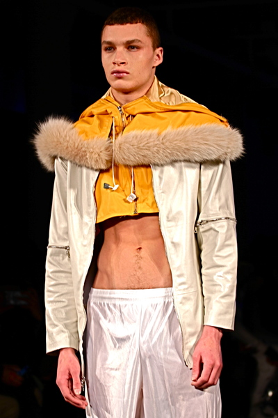 <p>Layers short hood jacket and transformative pearl leather jacket and nylon basketball shorts</p>