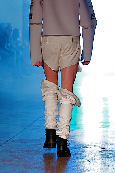 <p>Shorts transformed into leg warmers worn with a transformative jacket</p>