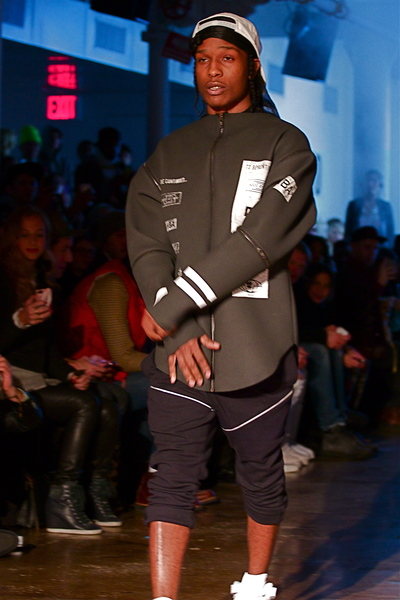 <p>A$AP Rocky closes the show in a neoprene jacket look</p>