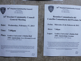 English and Spanish Fliers List Different Precinct Council Meeting Dates