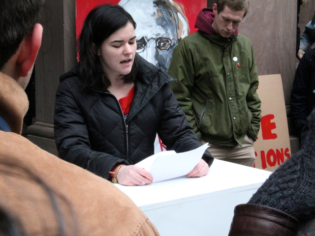 <p>Jillian Dolan, whose application to Cooper Union has been delayed, reads a statement to protesters Feb. 20, 2013.</p>