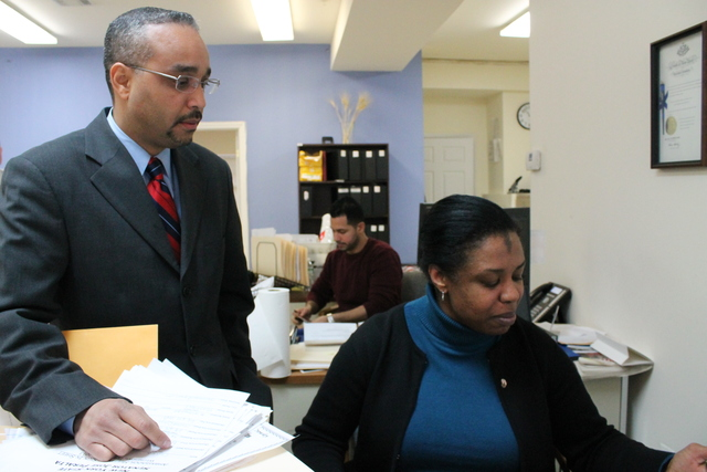 <p>State Sen. Jose Peralta in his East Elmhurst district office. Peralta is running for Queens borough president in 2013.</p>