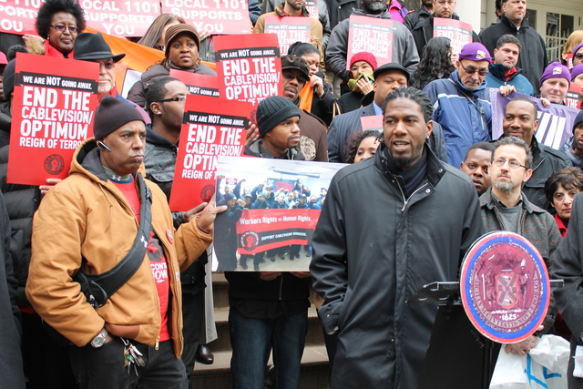 <p>Councilman Jumaane Williams urged the City Council to hold Cablevision accountable for alleged labor violations Tuesday, Feb. 26, 2013.</p>