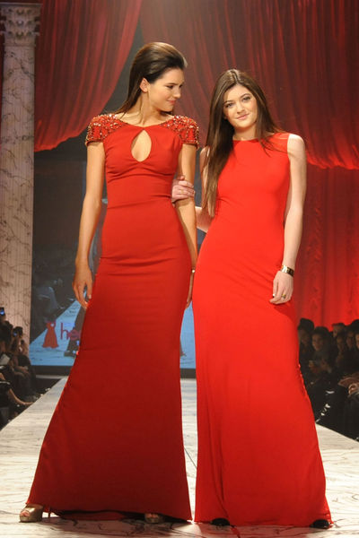<p>Kendall and Kylie Jenner, wearing Badgley Mischka, at the Heart Truth Red Dress Collection at the Hammerstein Ballroom in Midtown.</p>