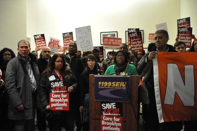 <p>Members of the New York State Nurses Association protest against the impending decision to close SUNY on Thursday, Feb. 7, 2013.</p>