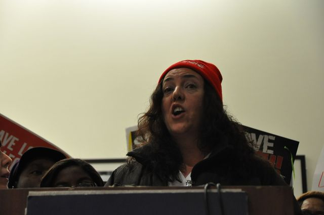 <p>Susan Shanahan, a registered nurse at LICH, speaks at the protest on Feb. 7, 2013.</p>