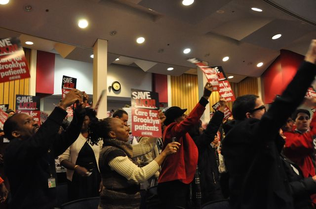 <p>Protesters chanted &quot;Why close LICH&quot; at the SUNY Board of Trustees meeting Feb. 7, 2013.</p>