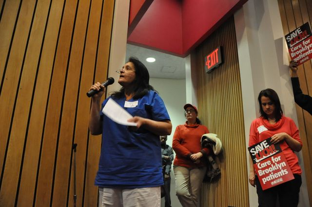 <p>Julie Semente, a registered nurse at LICH, speaks at the public hearing on Feb. 7, 2013.</p>