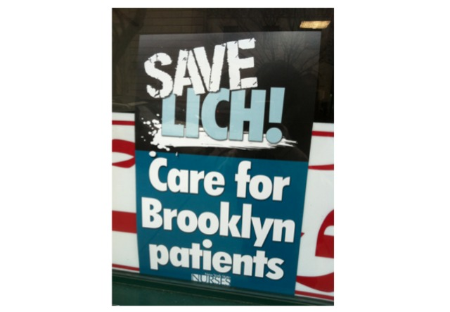 <p>Fliers posted around Cobble Hill to save Long Island College Hospital from closure.</p>