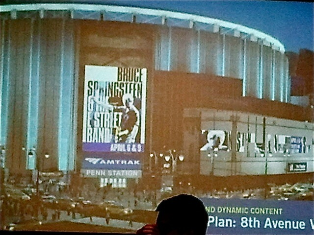 <p>Madison Square Garden is seeking to mount four, 77-foot-tall LED signs, illustrated here in this rendering, around the exterior of the arena.</p>