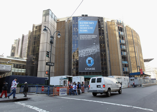 <p>Madison Square Garden is seeking to mount four, 77-foot-tall LED signs around the exterior of the arena.</p>