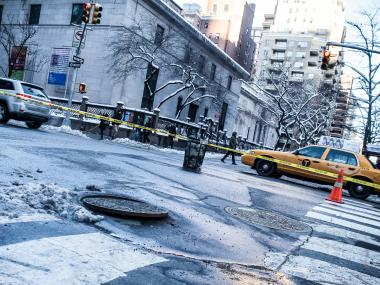 A manhole exploded and caused minor damage to a retail store on Madison Avenue on Feb. 9, 2013.