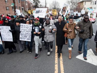 Advocates marched on the one-year anniversary of the Ramarley Graham shooting.
