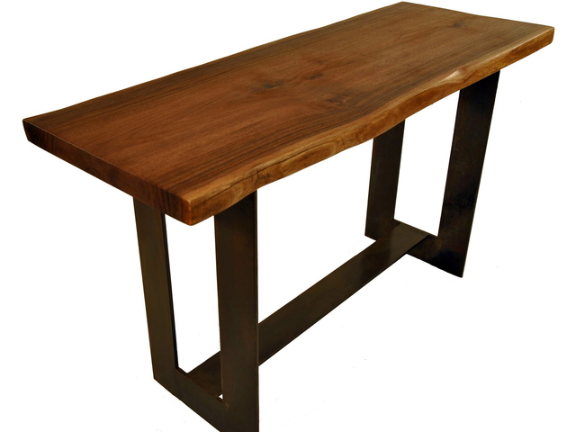 <p>Mark Jupiter&#39;s walnut kitchen island.</p>