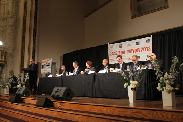 <p>Most of the candidates for mayor gathered for a debate targeted at low-income New Yorkers in Harlem on Feb. 28, 2013.</p>