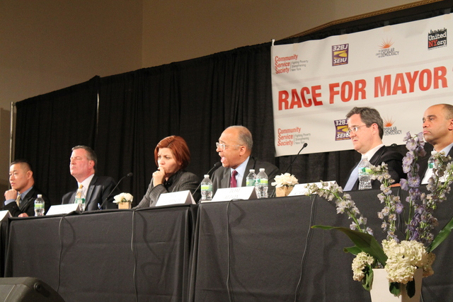 <p>Frontrunner and City Council Speaker Christine Quinn was the frequent object of her opponents&#39; criticism at a forum in Harlem on Feb. 28, 2013.</p>