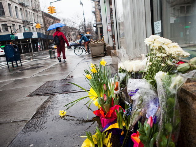 <p>Memorial flowers set out for Martha Atwater, 48, who died Friday Feb. 22, 2013 when she was struck by an SUV in Cobble Hill.</p>