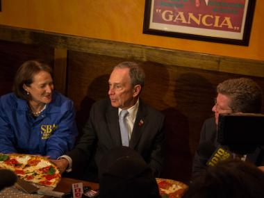 Mayor Michael Bloomberg sat down with Karen Gills, head of the Small Business Administration, and Shaun Donovan, U.S. Secretary of Housing and Urban Development, at a Dongan Hills pizzeria to thank them for the allocation of $1.77 billion in money to aid Hurricane Sandy victims, Feb. 6, 2013.