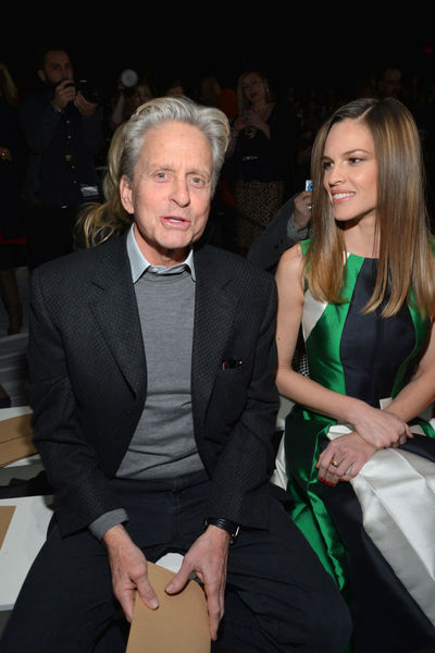<p>Michael Douglas and Hilary Swank at the Michael Kors show at Lincoln Center, Wednesday, February 13, 2013.</p>